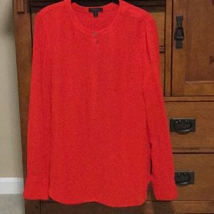 JCREW cherry red long sleeve button blouse